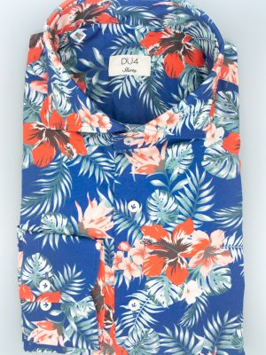 "Hemd ""Henjo"" mit Hawaii Print in Blau"