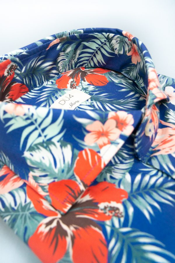 "Hemd ""Henjo"" mit Hawaii Print in Blau"