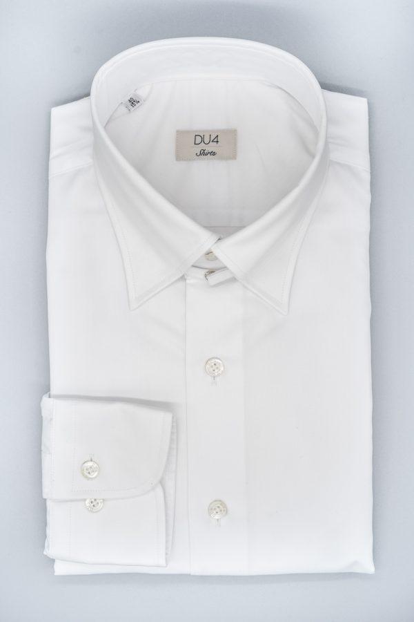 Klassisches Hemd in Weiß mit Sportmanschette und Tabkragen