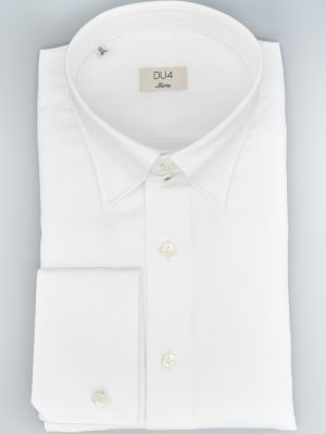 Klassisches Hemd in Weiß mit Umschlagmanschette und Tabkragen