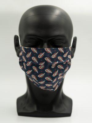 Mund- und Gesichtsmaske dunkelblau mit Pfauenfeder-Muster mit Falten