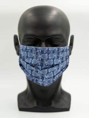 Mund- und Gesichtsmaske in blauem Ananas-Muster mit Falten