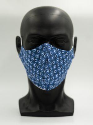 Mund- und Gesichtsmaske blau mit Blumemuster