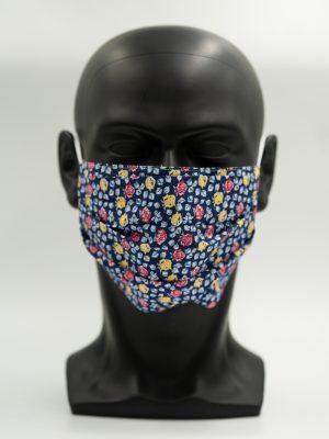 Mund- und Gesichtsmaske Blumenmuster mit Falten