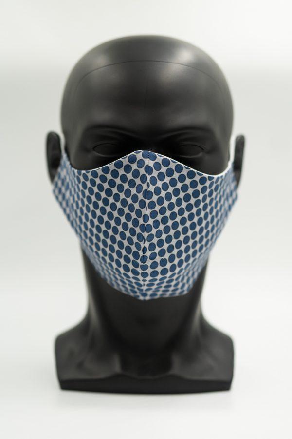 Mund- und Gesichtsmaske dunkelblau mit Punkten