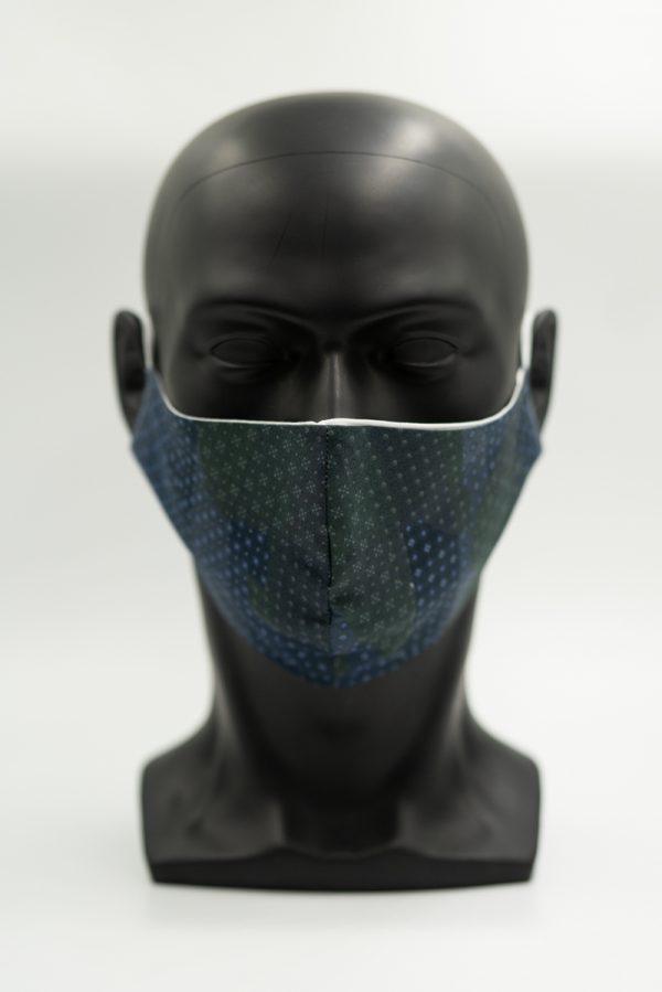Mund- und Gesichtsmaske dunkelblau-grün gemustert