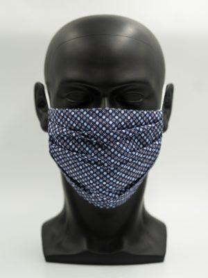 Mund- und Gesichtsmaske dunkelblau mit Punkten und Falten