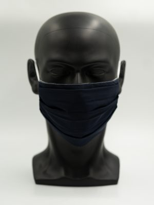 Mund- und Gesichtsmaske dunkelblau mit Falten