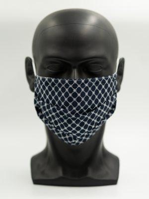 Mund- und Gesichtsmaske dunkelblau-Muster mit Falten