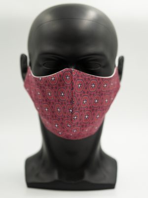 Mund- und Gesichtsmaske dunkelrot mit Muster