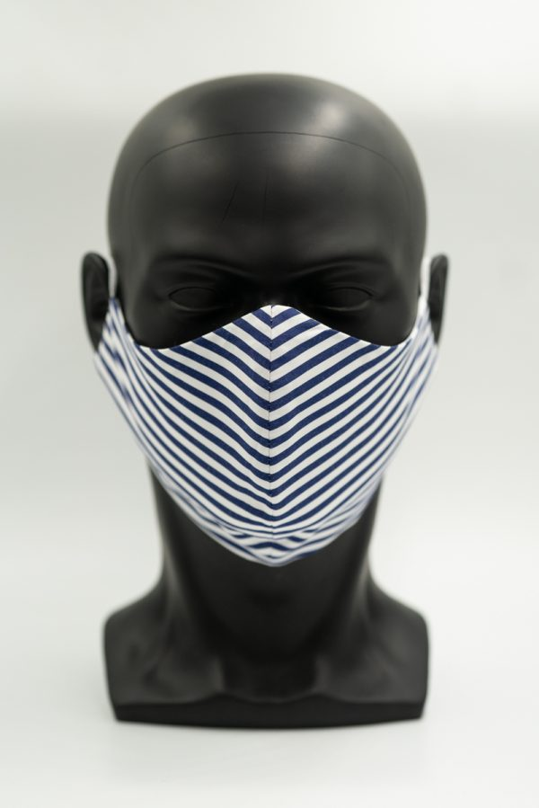 Mund- und Gesichtsmaske dunkelblau gestreift