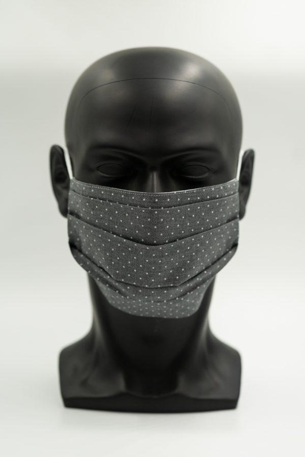 Mund- und Gesichtsmaske grau mit Punkten und Falten