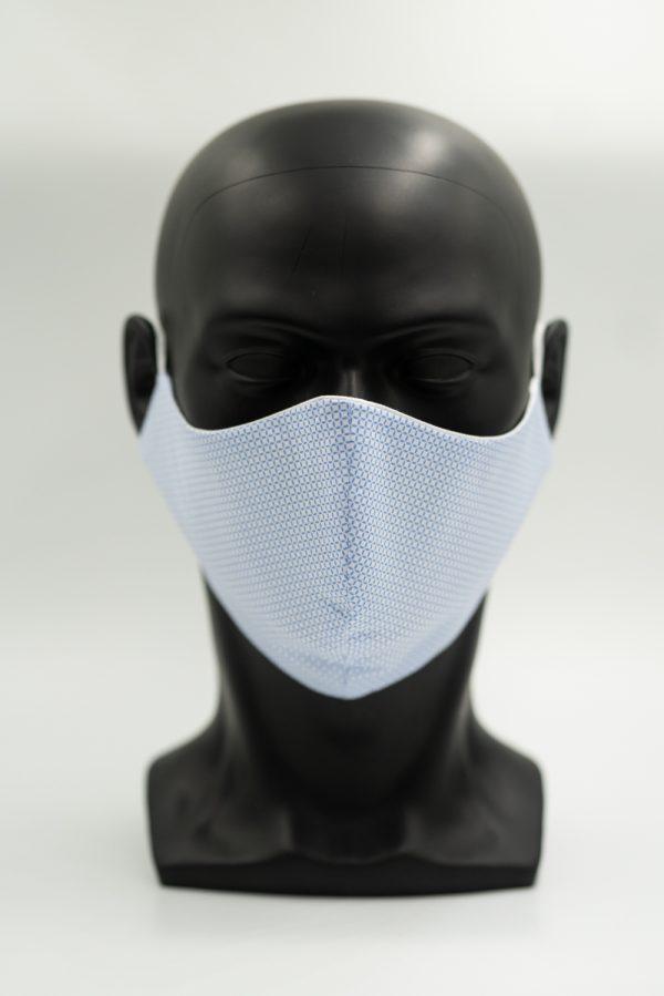 Mund- und Gesichtsmaske weiß mit hellblauen Kreisen