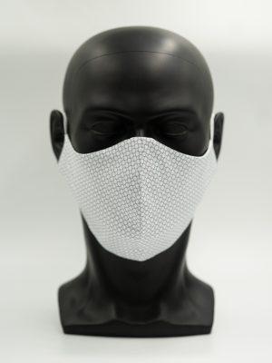 Mund- und Gesichtsmaske weiß mit Kreisen