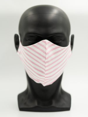 Mund- und Gesichtsmaske rosa gestreift