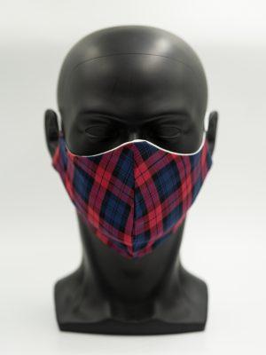 Mund- und Gesichtsmaske blau-rot mit Karomuster