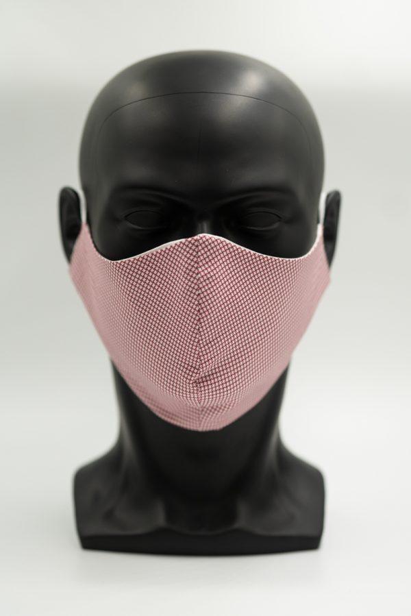 Mund- und Gesichtsmaske weiß mit rotem Karomuster