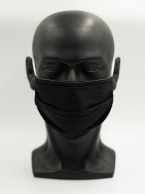 Mund- und Gesichtsmaske schwarz mit Falten