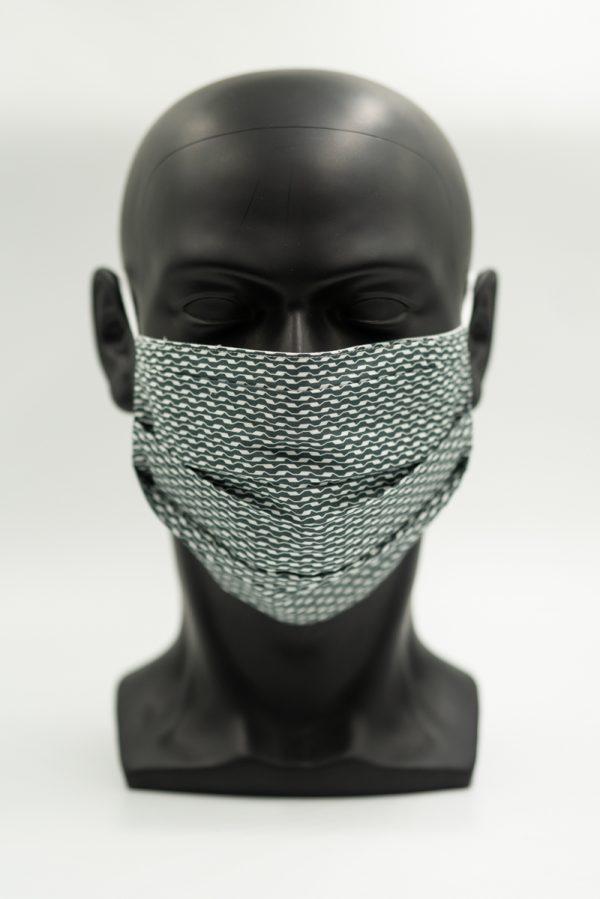 Mund- und Gesichtsmaske schwarz mit Wellenmuster und Falten