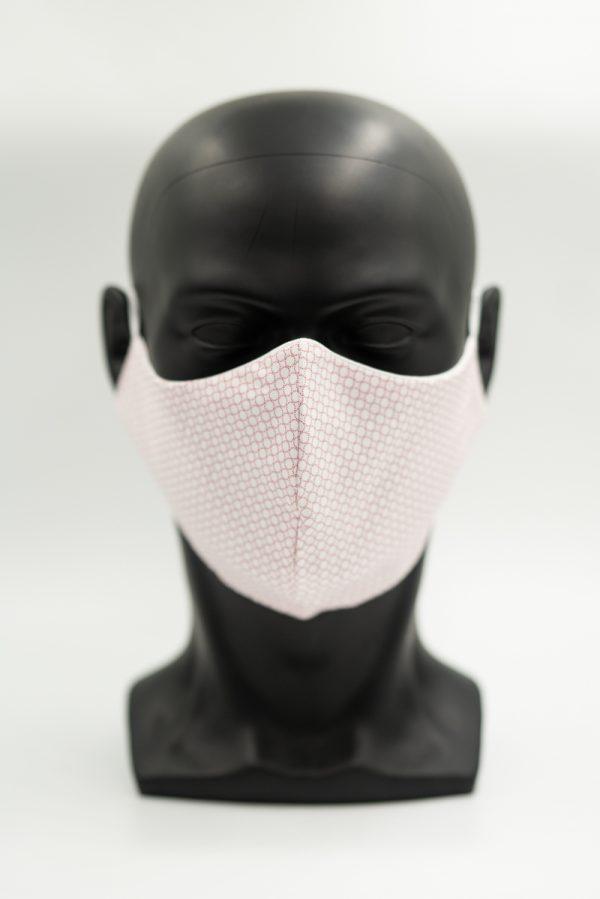 Mund- und Gesichtsmaske weiß mit roten Kreisen