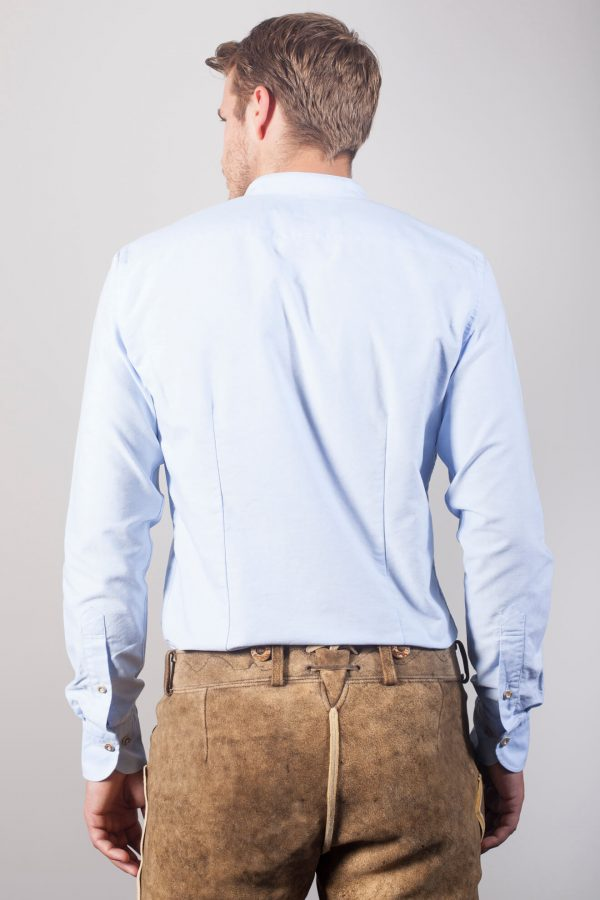 """Hellblaues Trachtenhemd """"Hansi"""" mit Stehkragen in Oxford"""