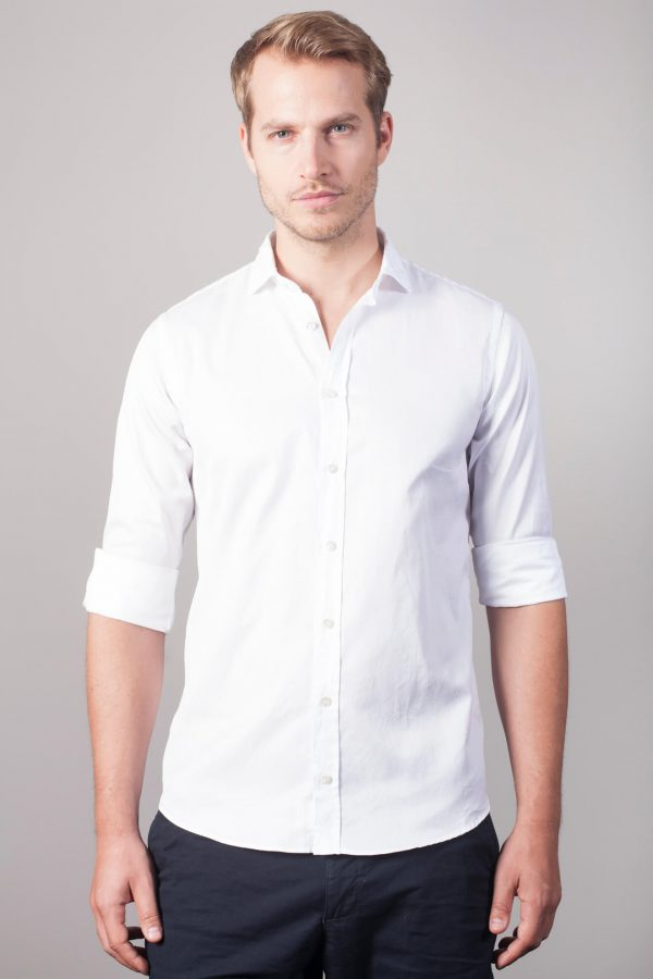 """Softes Uni Baumwollhemd """"Pavia"""" in Weiß"""