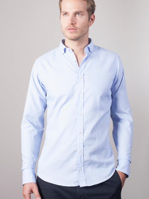 "Oxford Hemd ""Bari"" mit Button Down in Hellblau"