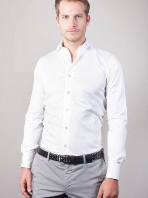 """Uni Hemd """"Lorenz"""" in Weiß mit blauen Kontrasten"""